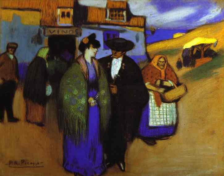 Spanish Couple in front of an Inn. 1900. Pastel on cardboard. Private collection.